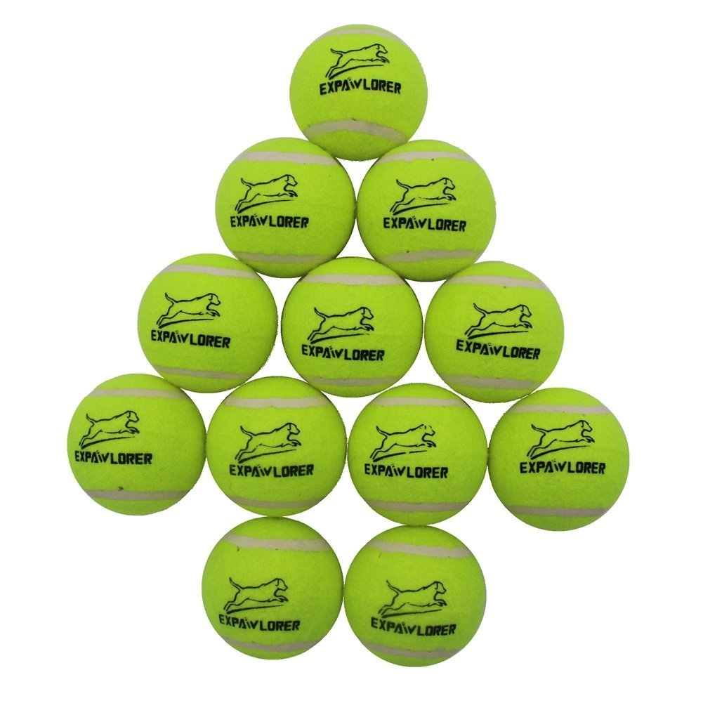 EXPAWLORER Dog Squeaky Tennis Balls for Dogs Set of 12 for Pet Playing and Training 2.5'' by EXPAWLORER