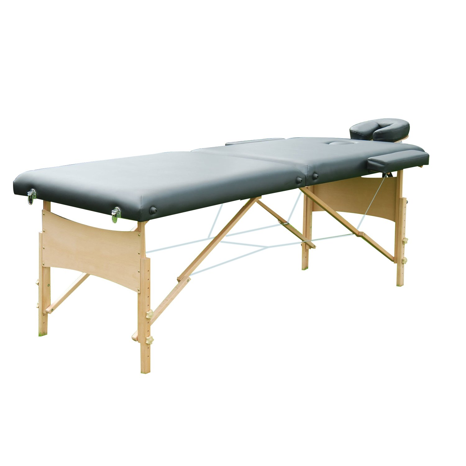 HomCom Portable Massage Table, 2 Fold Thick, Black Aosom Canada 5550-3162BK