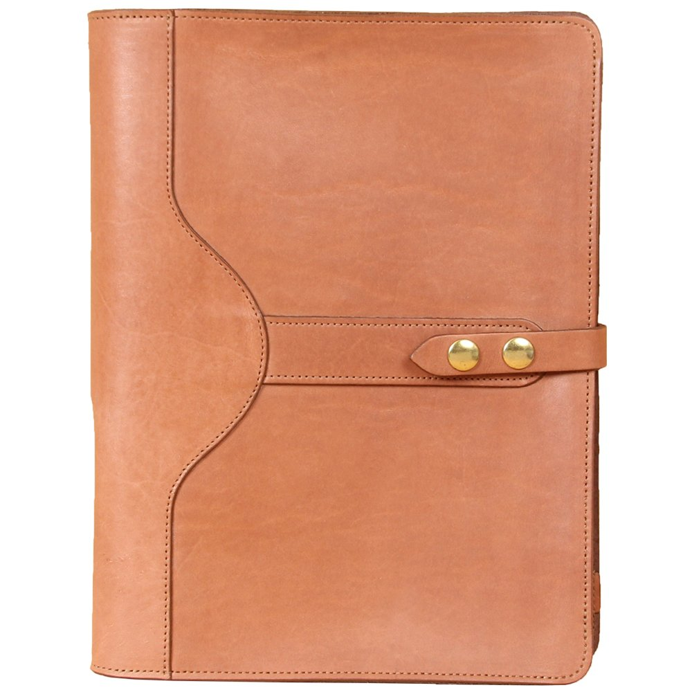 Saddle Tan Leather Portfolio Case for iPad Pro Tablet Pocket Full-Grain USA Made No. 26 Business Writing