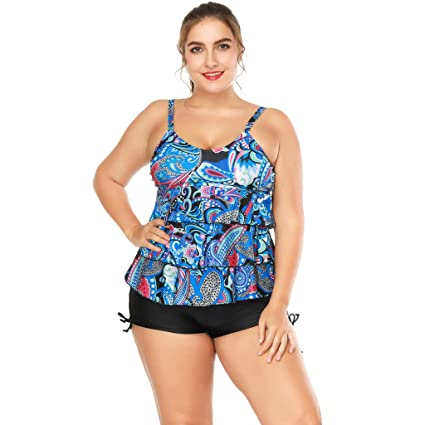 39aa0a4f00bc5 Image Unavailable. Image not available for. Color: Women 2pc Sport Monokini  Tankini Swimsuits Tummy Control Floral Padded Push up ...