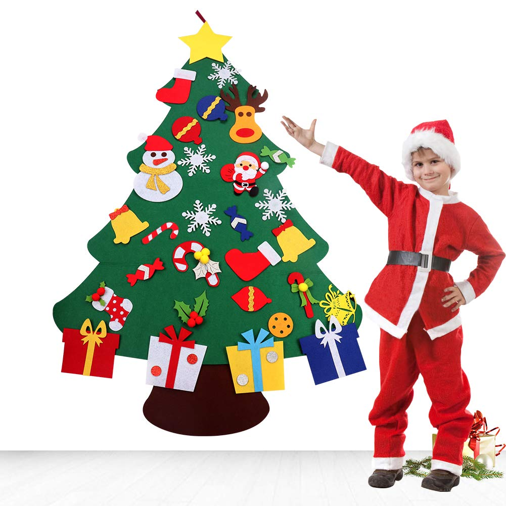 Felt Christmas Tree Decorations Set with Ornaments - Double Stitched- Wall Hanging-Handmade 26 pcs detachable Christmas ornaments 3.1FT PACOOL