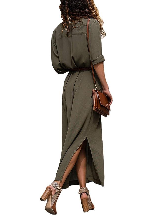 ac87fcd40690 ORANDESIGNE Donna Vestiti Lunghi Eleganti Vestito con Scollo a V Manica  Lunga Casuale Pianura Camicia Abiti Vestiti Tinta Unita  Amazon.it   Abbigliamento