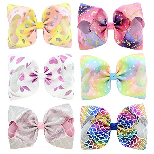 6 Pcs 8 Inch Large Colorued Stitching Glitter Sequin Hairpin Girls Bows Clip Hair Bows … (825)