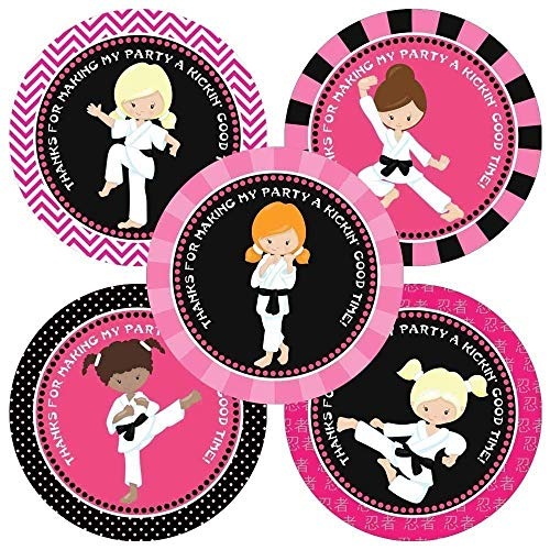 Karate Girl Thank You Sticker Labels - Kids Birthday Martial Art Party Favor Labels - Set of 30