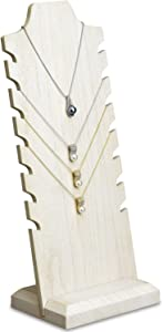 MOOCA Lightweight Wooden Freestanding Necklace Easel Display Stand Holder Multiple Necklace Bust, Wash White
