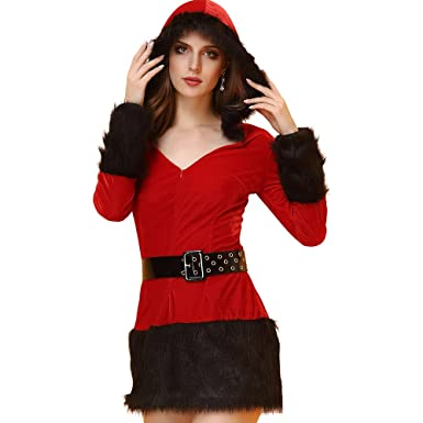3cd39a7ed78 Amazon.com  Women Party Fancy Sexy Soft Fur Trim Red Hooded Santa ...