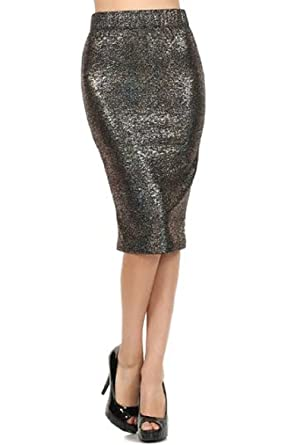 c2bfcadd7e 2Chique Boutique Women's Gold and Teal Metallic Mix Lurex Midi Skirt (small)