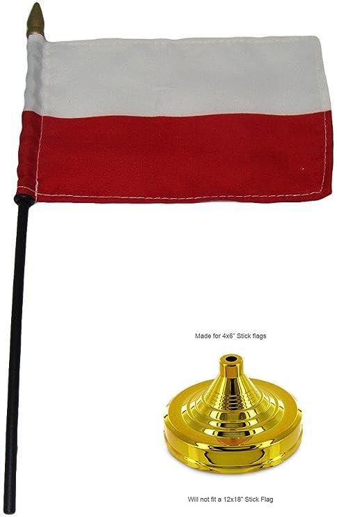 AES Juego de mesa de escritorio con bandera de Polonia (madera y base dorada), 10 x 15 cm: Amazon.es: Jardín