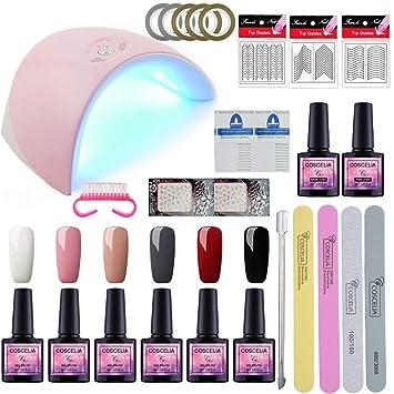 Saint-Acior Uña Arte 6 Piesas Gel Uñas Esmalte en Gel 36W UV/LED