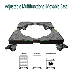 Universal Mobile Base Dolly Roller with 4 Double Wheels Multi-Functional Adjustable Base for Adjustable Dryer, Washing Machine and Refrigerator (4 Double Wheels)