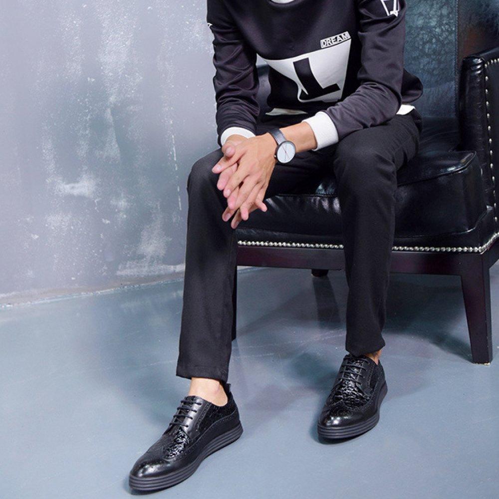 LinShuiXian Herren Leder Brogue Schwarz Runder Zeh Leder Herren Formal Braun Derby Schuh Täglich Draußen Büro Arbeit Abend Party Geschäft Uniform Blau Schnüren Schuhe Für Männer schwarz 9502f0