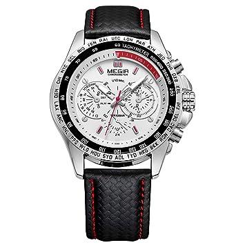 QRMH Negro Relojes para Hombres Deportes Casual Reloj De Cuarzo Negro Imitación Correa De Cuero Impermeable