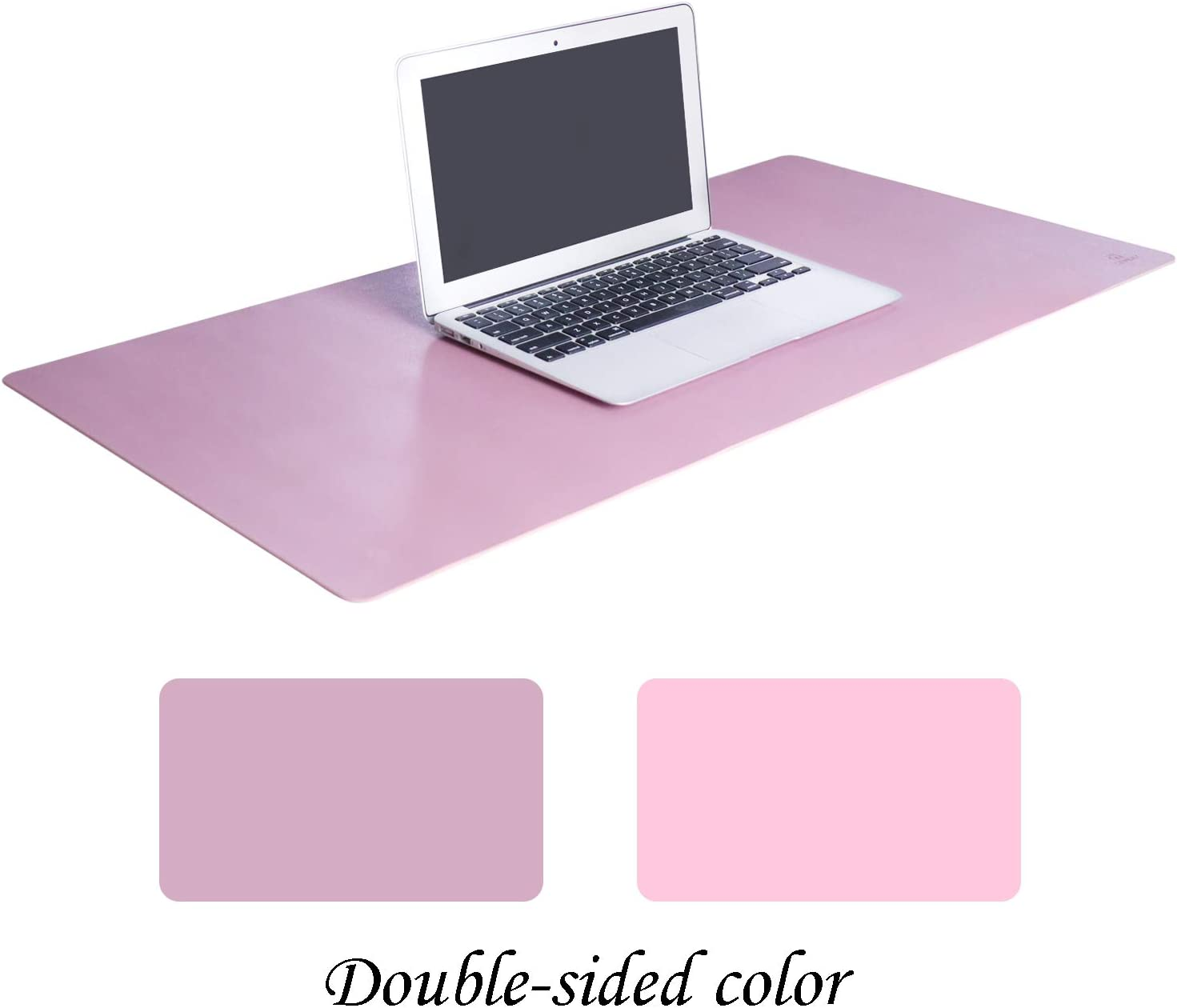 "OFFIDIX Large Office Mouse Pad, 32""x16"" Non-Slip PU Leather Two Colors Desk Mat Dual-Sided Waterproof Desktop Pad Protector Gaming Writing Mat for Office and Home (Pink and Purple, Dual-Sided)"