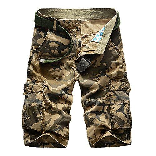 HANQIU Mens Cotton Camo Printed Tactical Cargo Shorts
