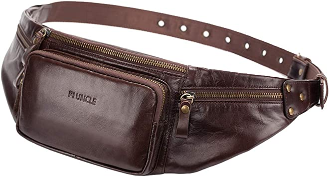 Mens Genuine Leather Brown Cell Phone Fanny Pack Waist Wallet Sling Chest Bag
