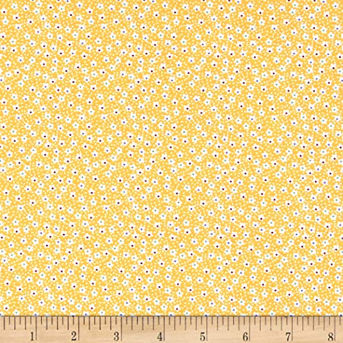 - Santee Print Works Vintage Miniatures Flowers Fabric, Bright Yellow/White, Fabric By The Yard