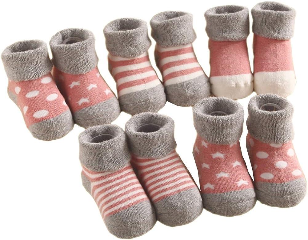 Estwell 5 Paare Baby Frottee Socke Jungen M/ädchen Baumwolle Socken Erstlingss/öckchen 0-36 Monate Babysocken