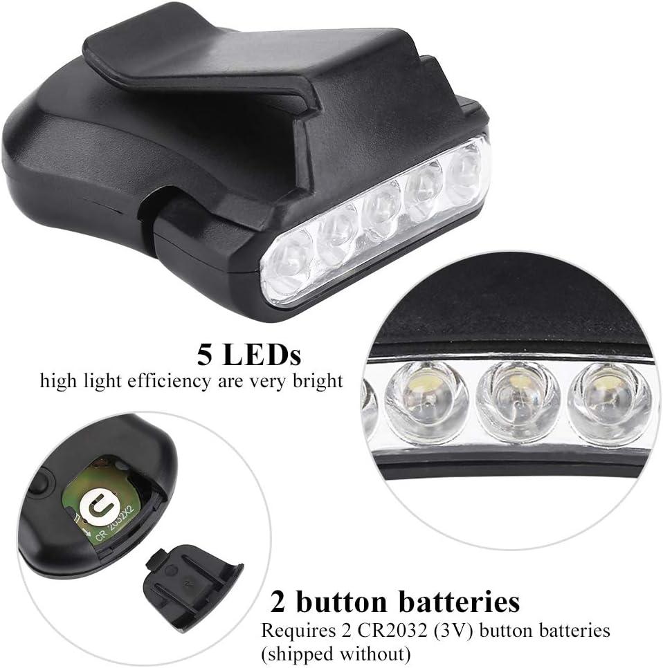 iFCOW Lampe frontale /à 5 LED avec clip pour lampe frontale