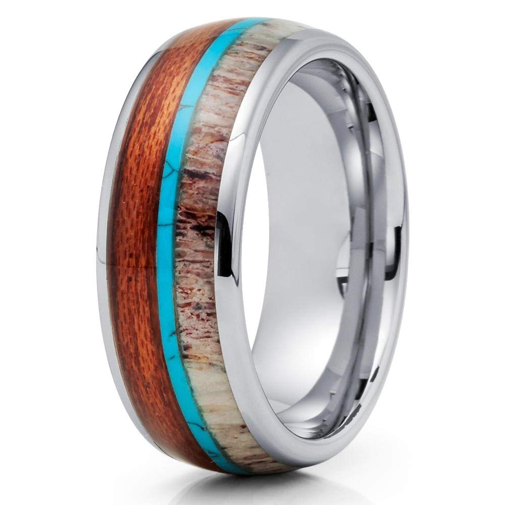 Silly Kings Deer Antler Tungsten Ring - Koa Wood Tungsten Ring - Turquoise Ring (13)