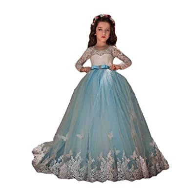 b1de18f0fc51 Amazon.com: Angel Dress Shop Pageant Long Sleeve Flower Girl Dresses for  Wedding Girls Tulle Ball Gown Dresses Lace Appliques: Clothing