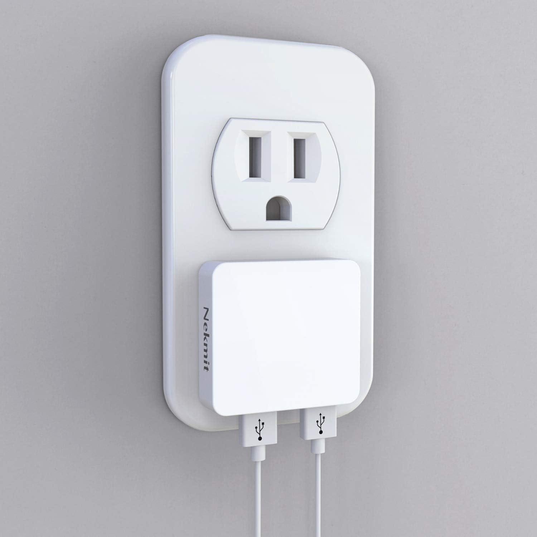 스마트 IC 화이트와 네크릿 듀얼 포트 울트라 얇은 평면 USB 벽 충전기