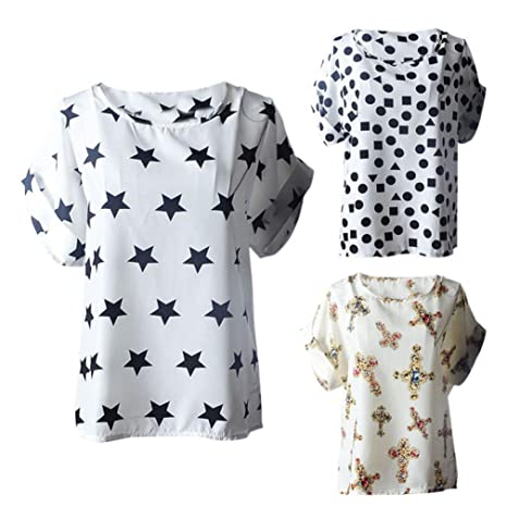 Amazon.com: DondPO Womens Short Sleeve T-Shirt Print Tropical Chiffon Shirtt Tops Ladies Blouse Summer Clothes: Clothing