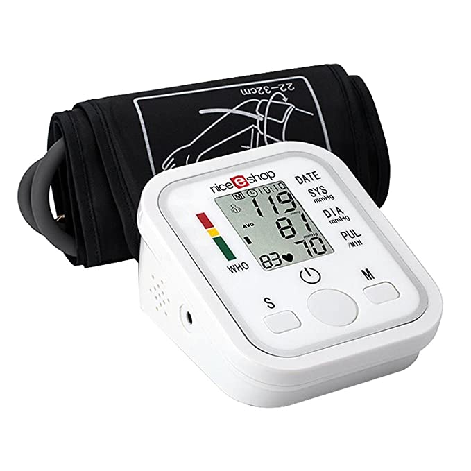 OXOQO Automático de Brazo para LCD Digital LCD Monitor de Presión Arterial Latido Inicio Esfigmomanómetro, Blanca: Amazon.es: Electrónica