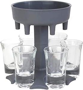 6 Ways Shot Glass Dispenser | Glasses Hanging Holder Stand Rack | Carrier Caddy Liquor Beverage Dispenser Gifts Drinking Games for Cocktail Party Get Togethers Girls Weekend (Black)