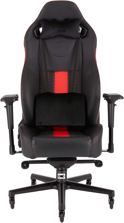 Corsair T2 Road Warrior Silla de Oficina, Para Videojuegos, Polipiel fácil de ensamblar, giratoria ergonómica, altura ajustable y reposabrazos 4D asiento ancho y cómodo con reclinador alto, Rojo