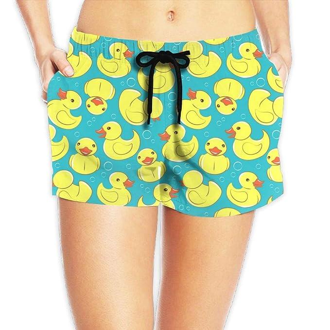 58b84b3501 Zhousyydl Lady Yellow Rubber Duck and Bubbles Athletic Beach Shorts Swim  Trunks Board Shorts Pants