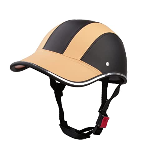 Casco de Abierta Casquillo Sombrero Motocicleta Motocross Mitad Cara Visera Correa Ajustable Protección - Naranja claro