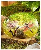 Solar Glass Garden Stone Dragonfly