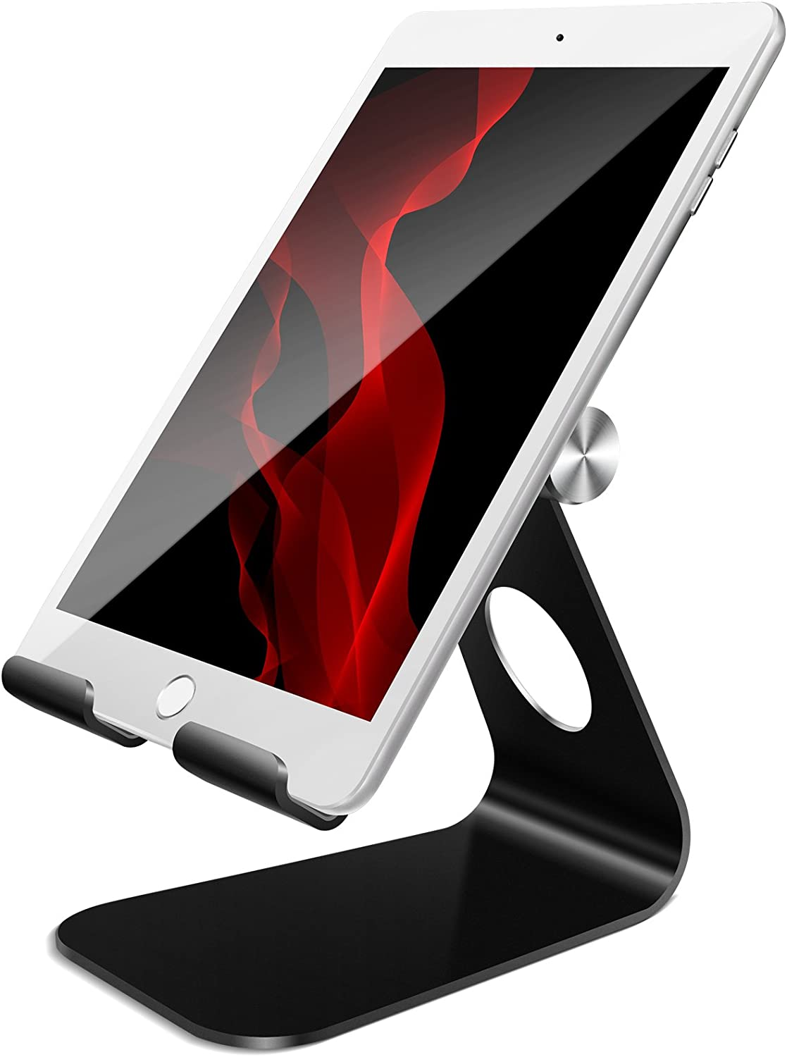 Tablet Stand Adjustable, Lamicall Phone Stand : Desktop Stand Holder Dock Compatible with Phone Xs Max XR, New iPad 2018 Pro 9.7, 10.5, Air Mini 2 3 4, Samsung Galaxy Tab S5 (4-13 inch) - Black
