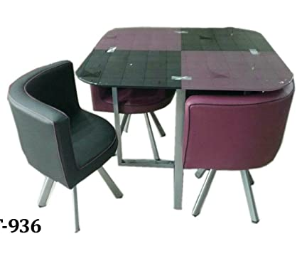 UNIQUE360 ZAMPA Compact Dining Table Set (Purple And Black) 4 Seater