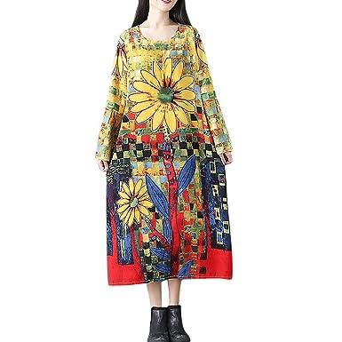 27db0b2e80b43c Plus Größe SHOBDW Herbst Elegant Damen Mode Vintage Sonnenblume Drucken  Langarm Baumwolle und Leinen Kleider Einfach und Stilvoll Lang Kleid Röcke  ...