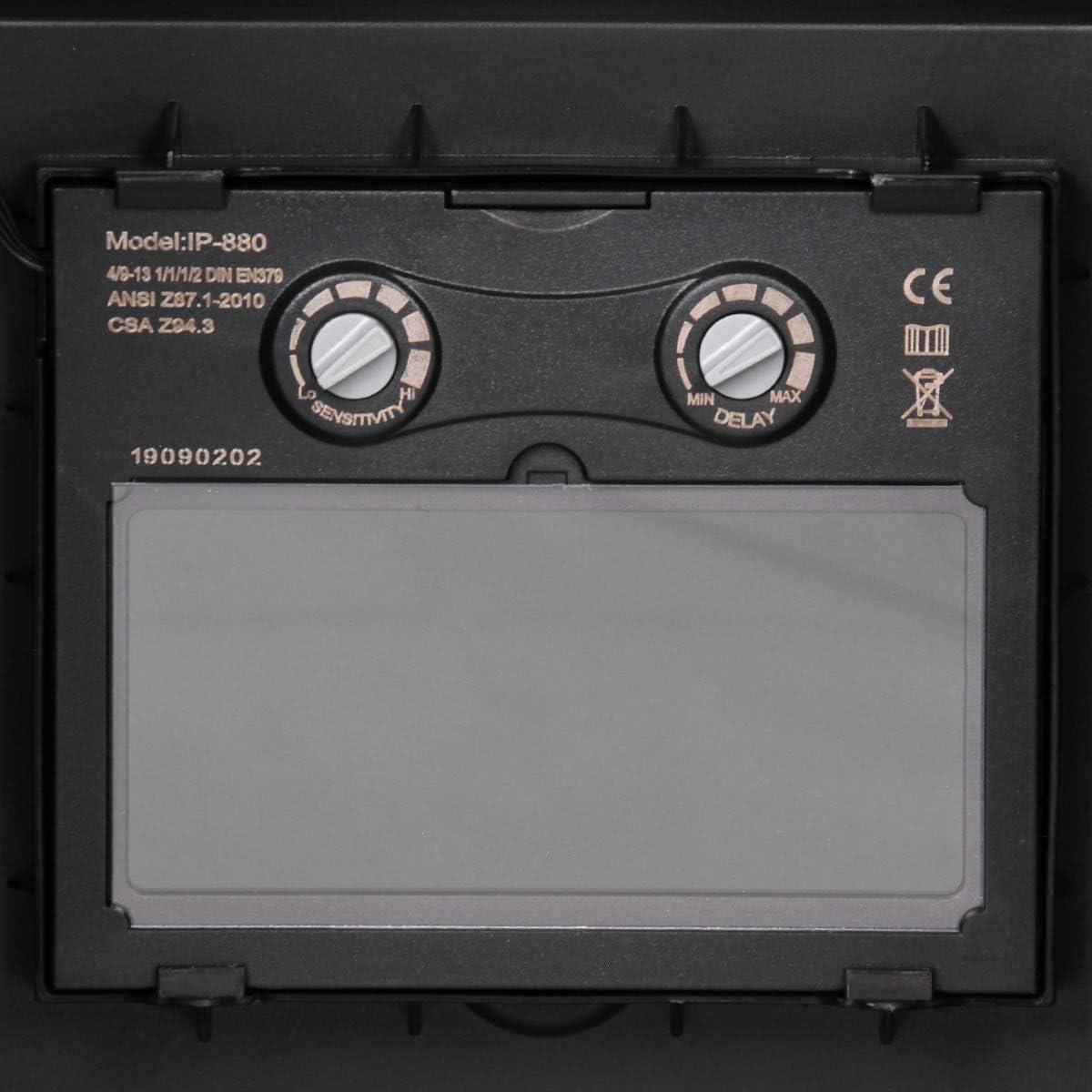 oscurecimiento variable: DIN 9-13 m/áscara de soldadura solar escudo de soldadura protecci/ón gran campo de visi/ón Protecci/ón UV//IR ECD Germany Casco de soldadura autom/ática con 2 sensores