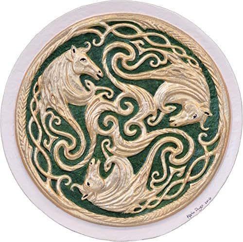 Amazon Com Three Celtic Horses Cast Paper Triskelion