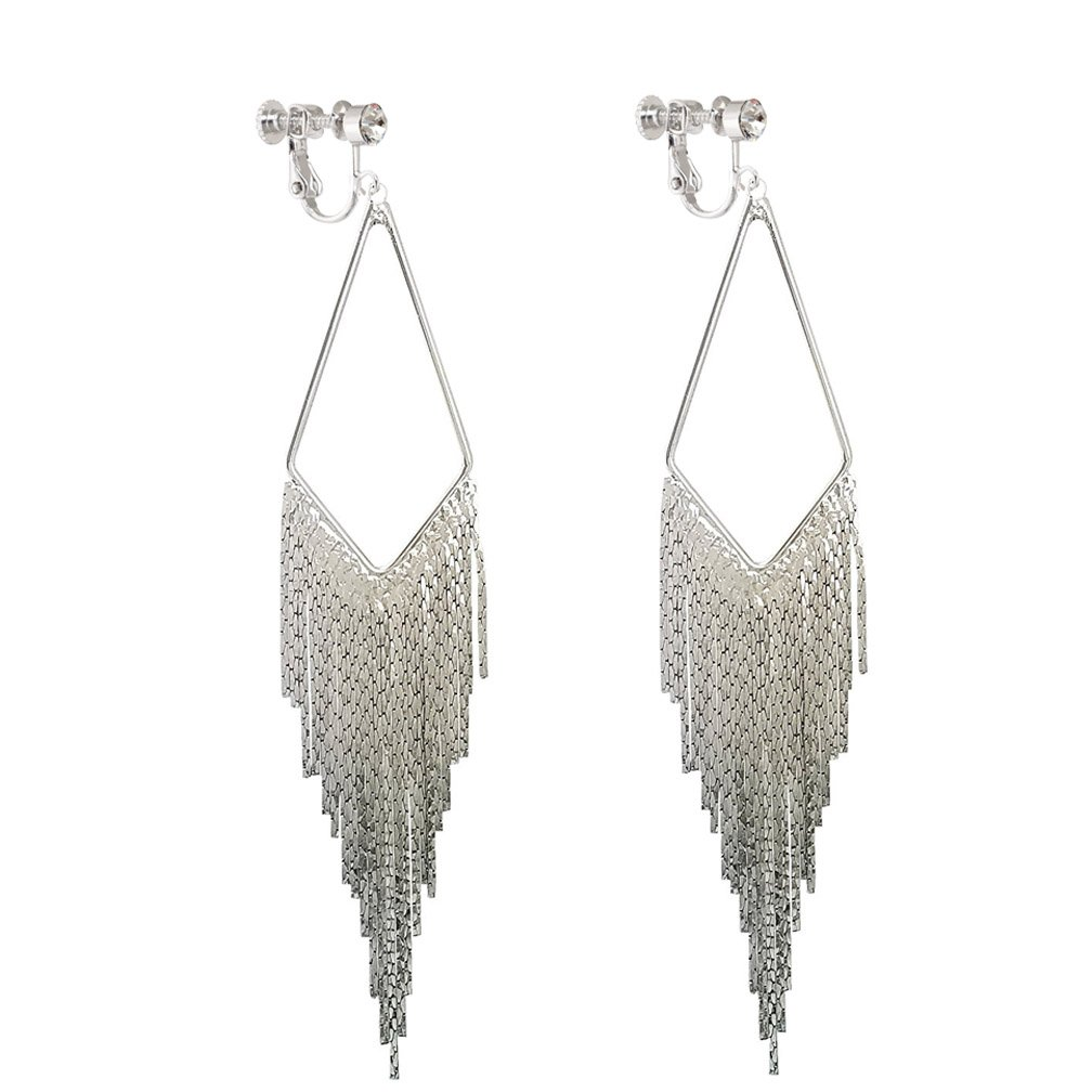 Long Dangle Rhinestone Clip on Earrings Tassel Boho Bohemian Fringe Earring for Women Jewelry Fahionyi Factory GTL-E1011-un