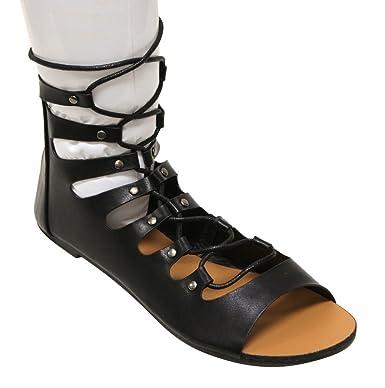 Forever Vibrant-12 Women's open toe bondage lace up zip closure gilly tie wrap ankle sandals Black 8.5