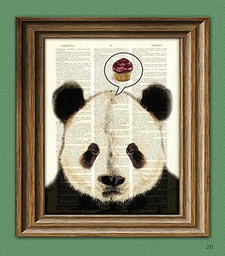(PANDA WANTS CUPCAKES Panda Bear beautifully upcycled vintage dictionary page book art print)