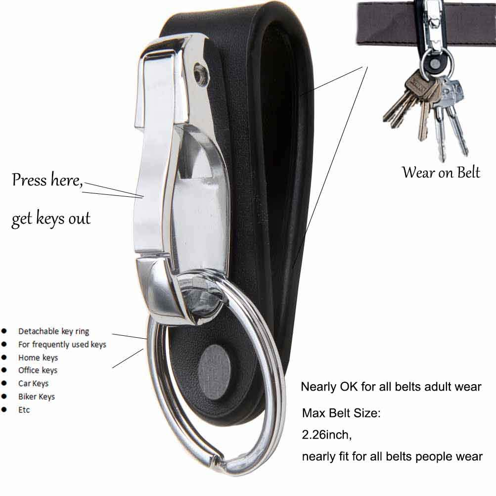 Keychains for Men Liangery Carabiner Genuine Cow Leather Keyring Belt Key Chain Hook Stainless Steel Key Ring Holder