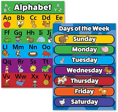 3 Pack ABC Alphabet Numbers 1-10 Days of the Week Poster Set Toddler Educational Charts LAMINATED, 18 x 24
