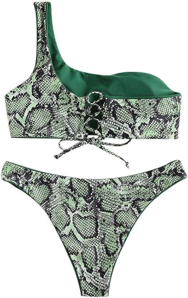 ZAFUL Set Bikini Imbottitura Costume da Bagno da Donna in Pizzo in Pelle di Serpente Swimwear da Spalla Reversibile