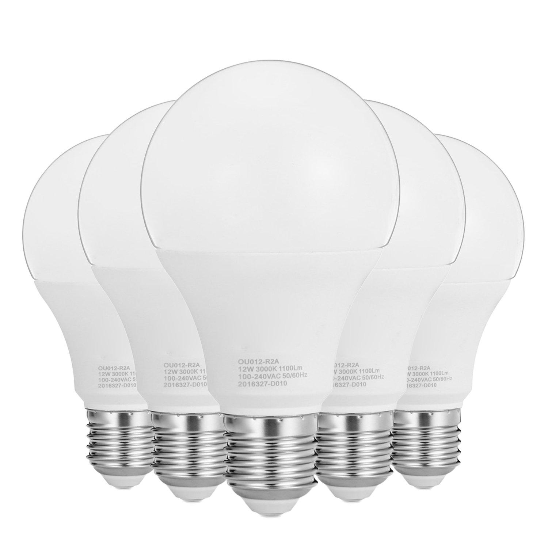 Luce LED LED LED non -Dimmable A19 12W 40 LED 2835 SMD E26 Media Fotte Base Base calda bianca Cool White AC 100 ~240V (5 -Pack) (Dimensione:Bianco caldo)