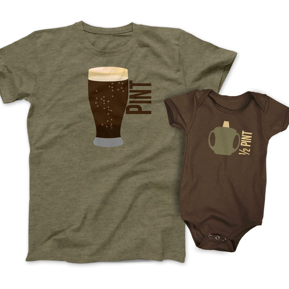 Pint and Half Pint Beer Glass and Sippy Cup Gift Set - Olive/Brown (Mens Large & 6M(Bodysuit))