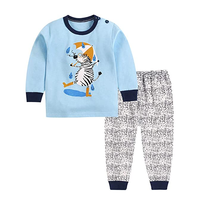 Juqilu Pijamas para Niños Niñas Bebé Homewear Cute Animal Manga Larga Cuello Redondo Camisas + Pantalones