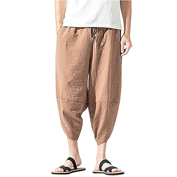 Hajotrawa Men Faded Denim Multi Pocket Trousers Straight Jeans Mid Rise Pants