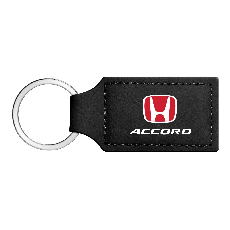 iPick Image Honda Accord Red Log Rectangular Black Leather Key Chain