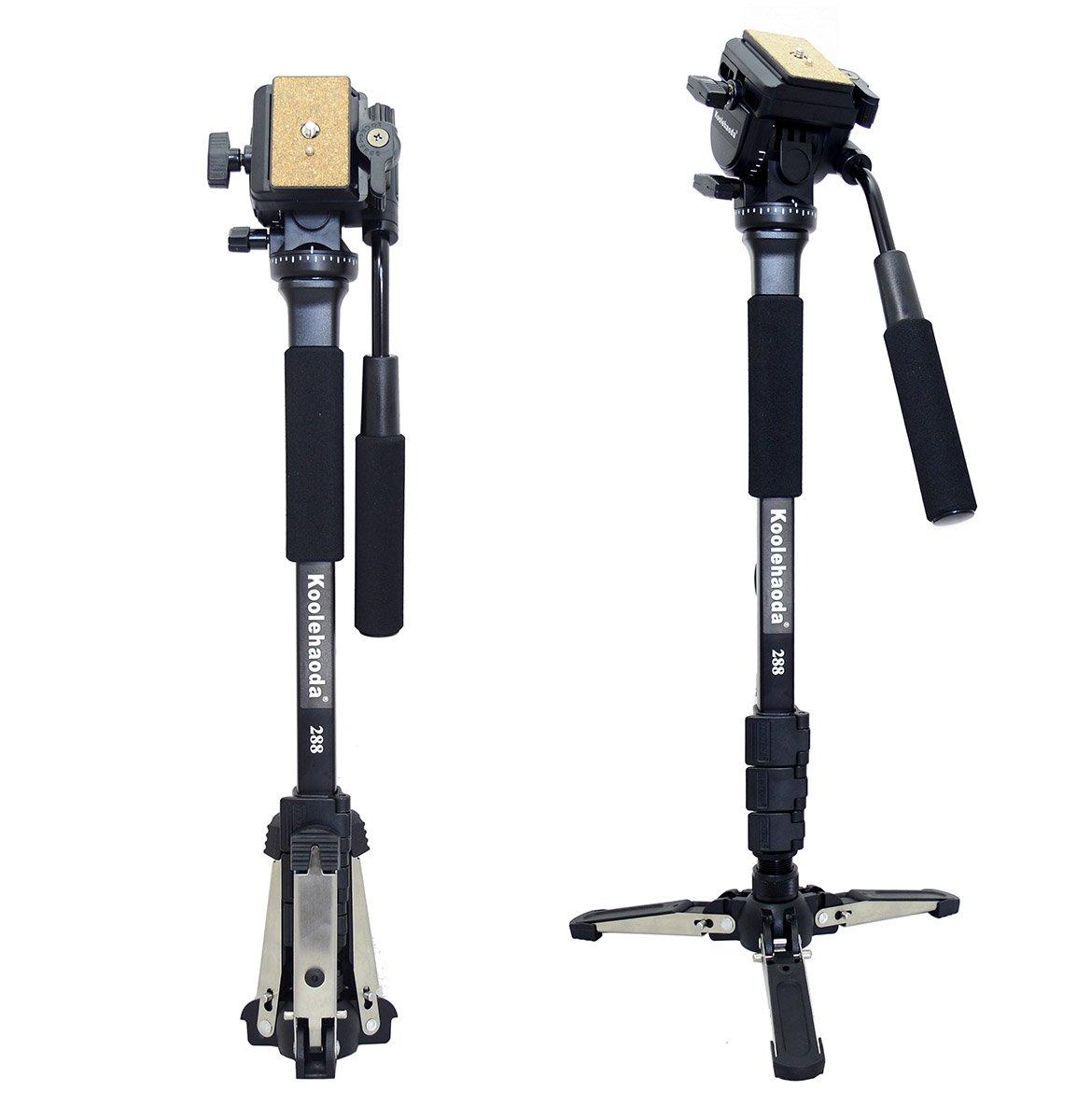 Koolehaoda Professional Camera Aluminium Monopod Fluid Video Head with Folding Three Feet Support Stand, Max:58.2''(OEM Yunteng288 Monopod)
