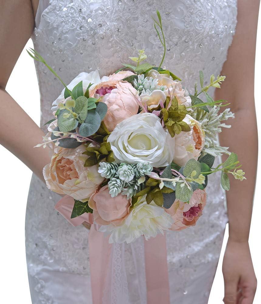 Amazon Com Wedding Romantic Bouquet Bride Bridal Bouquets Bridesmaid Bouquet Artificial Flowers Valentine S Day Confession Party Church Home Kitchen